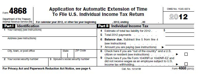 Tax Form 4868 If You Are Behind On Your Tax Return An Automatic
