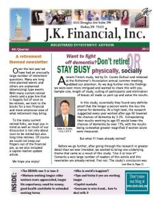Q 4 2013 J.K. Financial, Inx. Newsletter Cov