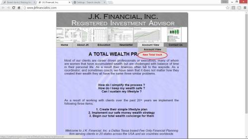 JK Financial Inc New Vault Screenshot