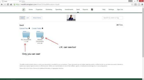 New Vault Screenshot - Shared and Non shared docs