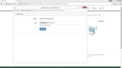 New Vault Upload Screenshot