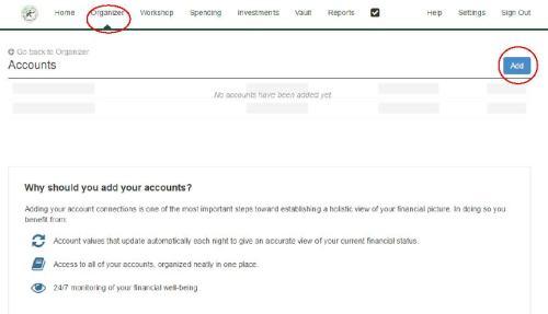 Add Account Root Screen W Circles